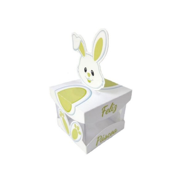 Caixa Acrílica de Páscoa Coelha Verde 5 X 5 cm Rizzo Confeitaria