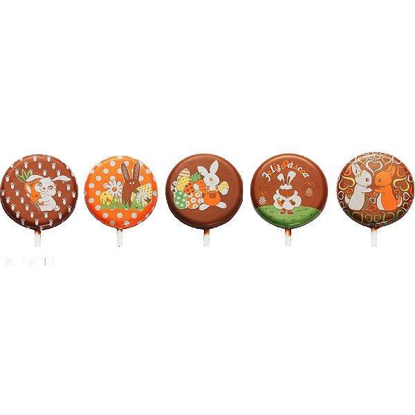 Blister Decorado com Transfer para Chocolate Pirulito de Páscoa 5cm BLP0118 Stalden Rizzo Confeitaria