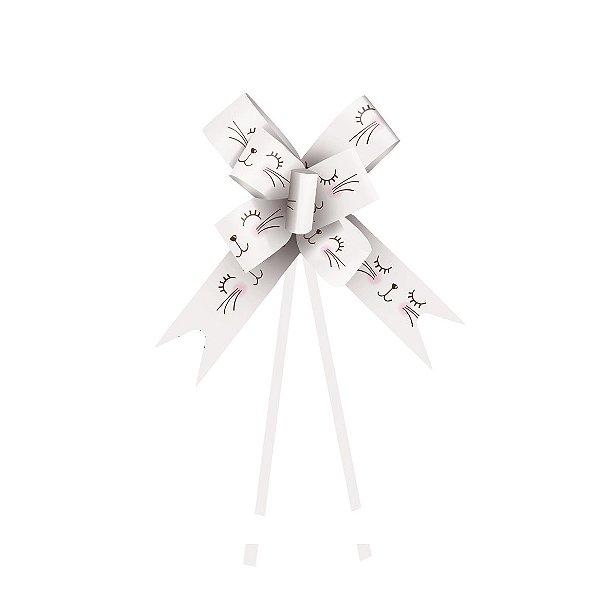 Laço Pronto Carinha de Coelho Branco 18mm - 10 unidades - Cromus Páscoa - Rizzo Confeitaria