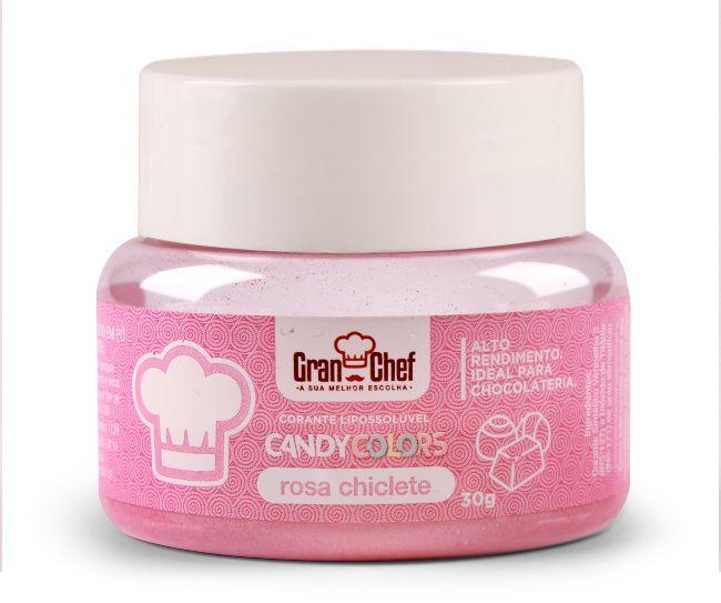 Corante em Pó Lipossolúvel Candy Colors Rosa Chiclete 30g Granchef Rizzo Confeitaria