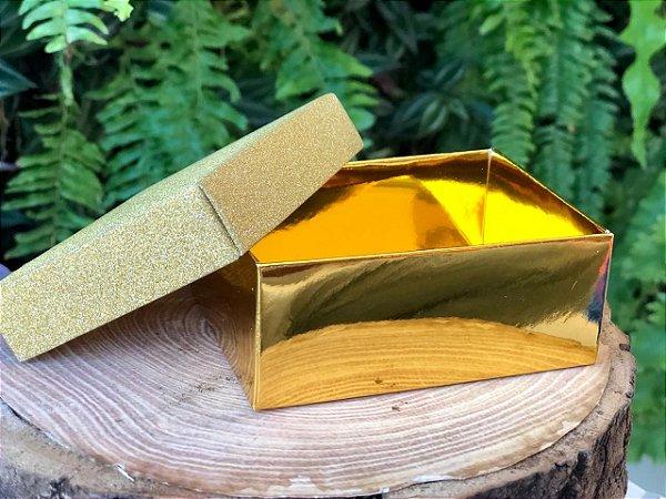 Caixa Retangular Gliter Dourada com 12un. ArtLille  Rizzo Confeitaria