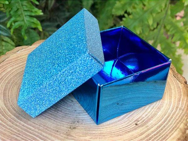 Caixa Quadrada Gliter Azul com 12un. ArtLille  Rizzo Confeitaria