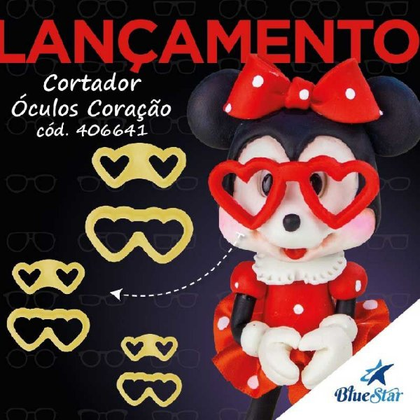 Kit Cortador de Óculos Coração com 6 peças Blue Star Rizzo Confeitaria