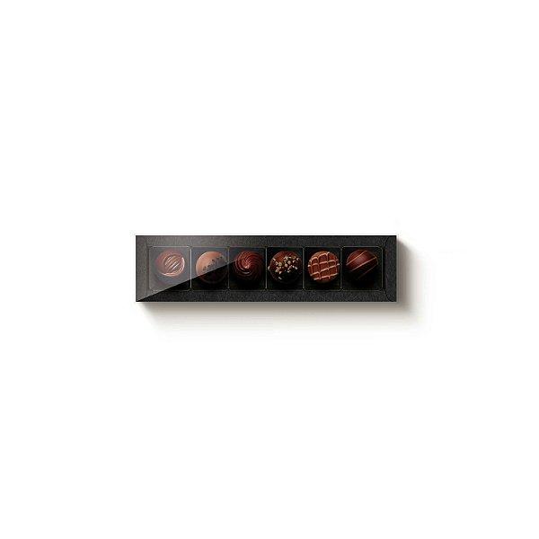 Caixa Retangular com Tampa Cristal 6 doces Preta com 5 un. Cromus Rizzo Confeitaria