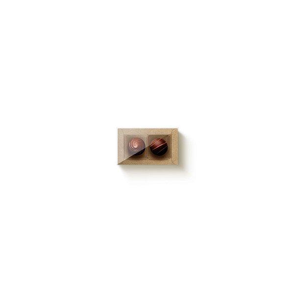 Caixa Retangular com Tampa Cristal 2 doces Kraft com 10 un. Cromus Rizzo Confeitaria