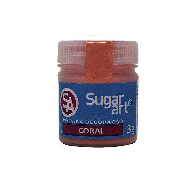 Pó para Decoração Coral Cintilante 3g Sugar Art Rizzo Confeitaria