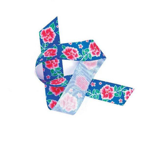Fita de Cetim Flores Azul EGP009TR 124 Progresso Rizzo Confeitaria