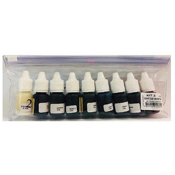 Corante Colorê Óleo para Pintura Kit 2 com 9 cores Lully Rizzo Confeitaria