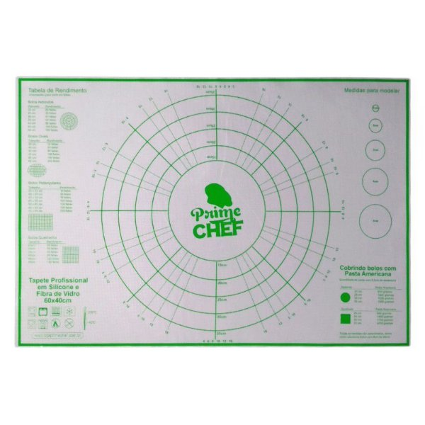 Tapete Profissional Silicone e Fibra de Vidro - Cod. T2 - 60x40cm - Prime Chef - Rizzo Confeitaria