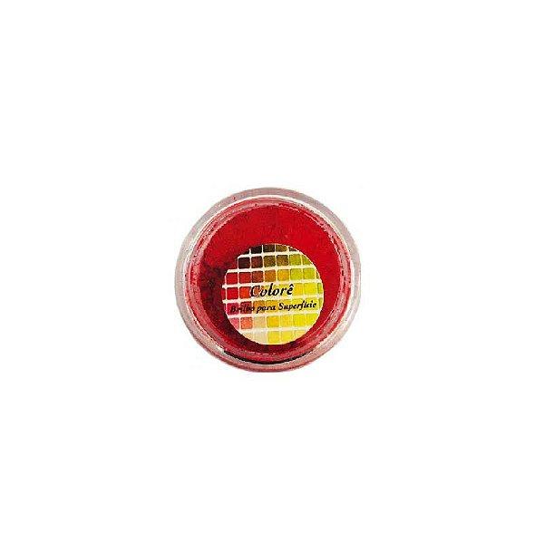 Pó para decoração, brilho para Superfície Colorê Vermelho Fluor 2g LullyCandy Rizzo Confeitaria