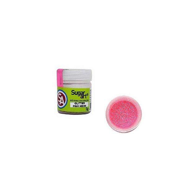 Pó para Decoração Gliter Pink Neon 5g Sugar Art Rizzo Confeitaria