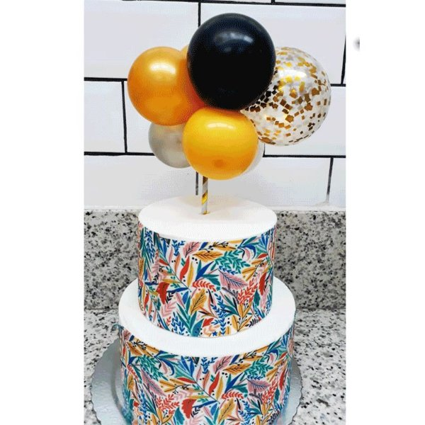 Topo de Bolo Mini Balões Dourado com Laranja  Rizzo Confeitaria