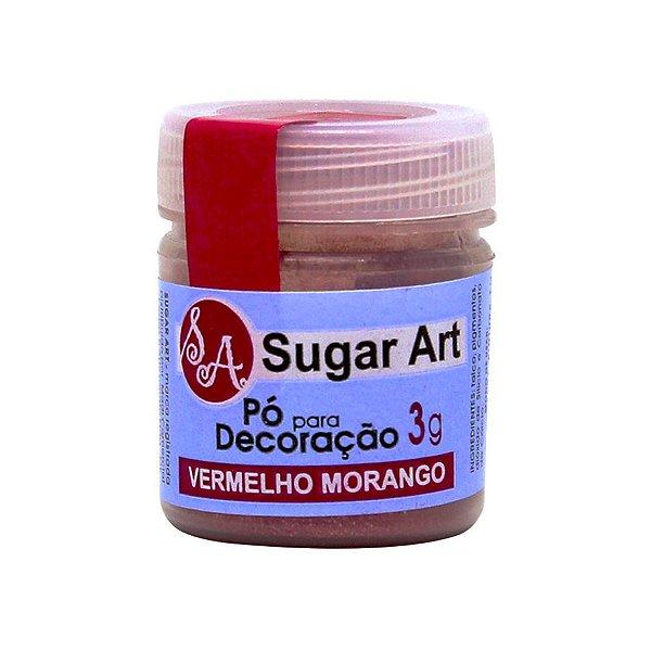 Pó para Decoração Vermelho Morango 3g Sugar Art Rizzo Confeitaria