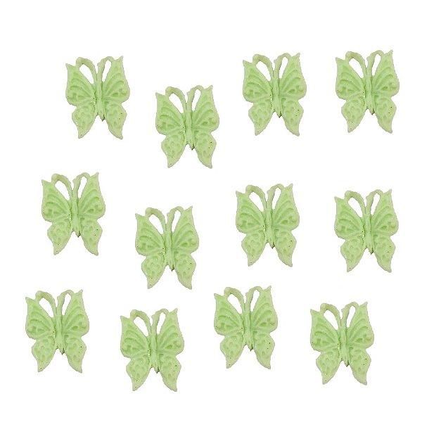 Confeitos Comestíveis Borboleta Verde Agua - Flores e Encantos de Açúcar Rizzo Confeitaria