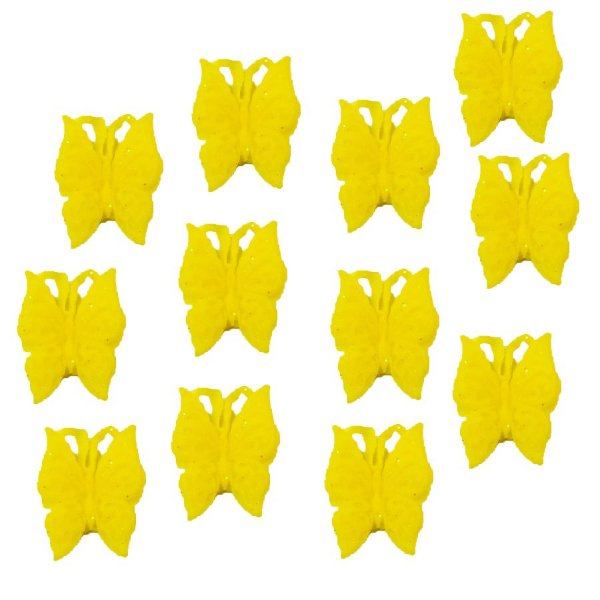Confeitos Comestíveis Borboleta Amarela - Flores e Encantos de Açúcar Rizzo Confeitaria