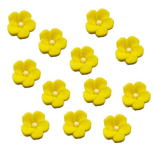 Confeitos Comestíveis Flor 1 Amarela - Flores e Encantos de Açúcar Rizzo Confeitaria