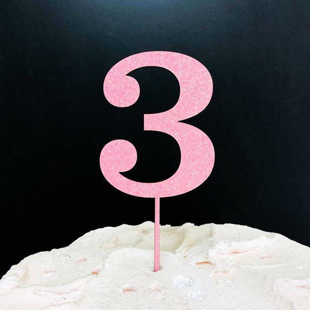 Topo de Bolo Número 3 Glitter Rosa Sonho Fino Rizzo Confeitaria