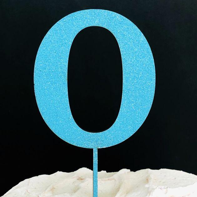Topo de Bolo Número 0 Glitter Azul Sonho Fino Rizzo Confeitaria
