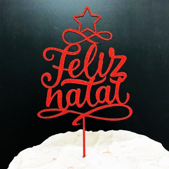 Topo de Bolo Feliz Natal Glitter Vermelho Sonho Fino Rizzo Confeitaria