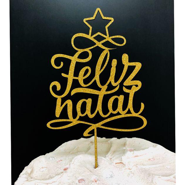 Topo de Bolo Feliz Natal Glitter Dourado Sonho Fino Rizzo Confeitaria