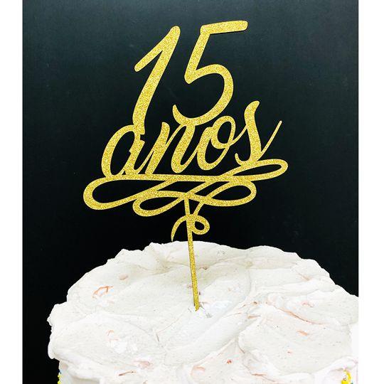Topo de Bolo 15 Anos Glitter Dourado Sonho Fino Rizzo Confeitaria