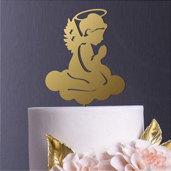 Topo de Bolo Anjo Dourado Metalizado Sonho Fino Rizzo Confeitaria