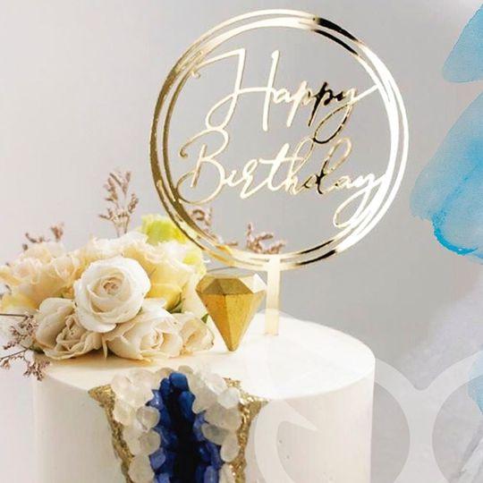 Topo de Bolo Happy Birthday Dourado Vivarte Rizzo Confeitaria