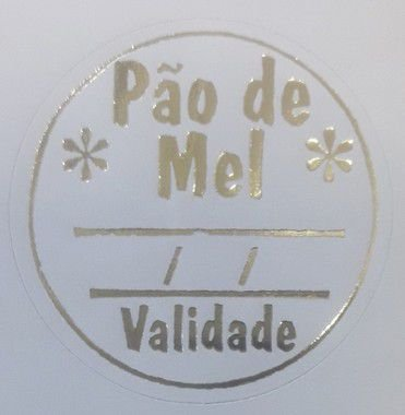 Etiqueta Pão de Mel validade redonda 100 unidades Massai Rizzo Confeitaria