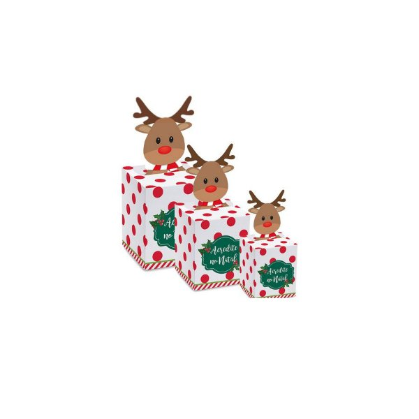 Caixa Pop Up Chaminé Rena com 10 un. Cromus Natal Rizzo Confeitaria