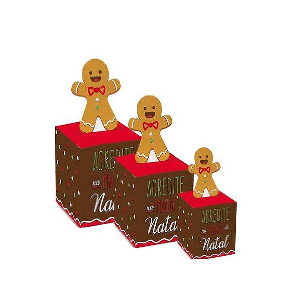 Caixa Pop Up Chaminé Biscoito com 10 un. Cromus Natal Rizzo Confeitaria