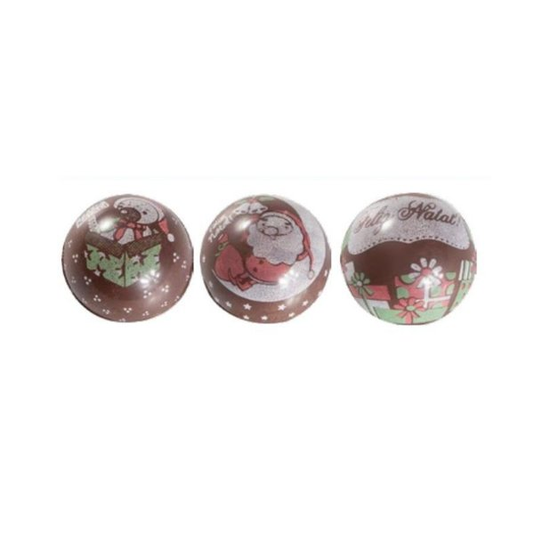 Blister Decorado com Transfer para Chocolate Bola de Natal 3cm BLN0038 Stalden Rizzo Confeitaria