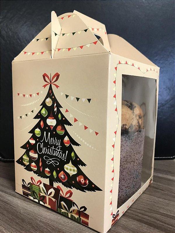 Caixa Panetone Árvore de Natal 500g Ref.1191 com 3 unid. - Erika Melkot Rizzo Confeitaria