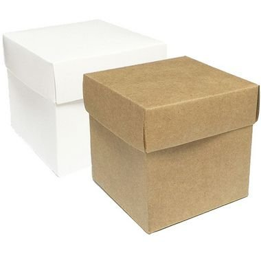 Caixa Cubo Para Presente Branco/Kraft com 10 un. ASSK - Rizzo Confeitaria