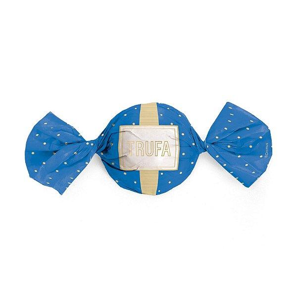 Embalagem Trufa 15x16cm - Petit Poá Azul e Ouro - 100 unidades - Cromus - Rizzo Confeitaria