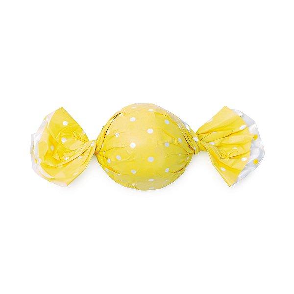 Papel Trufa 14,5x15,5cm - Poa Double Face Amarelo - 100 unidades - Cromus - Rizzo