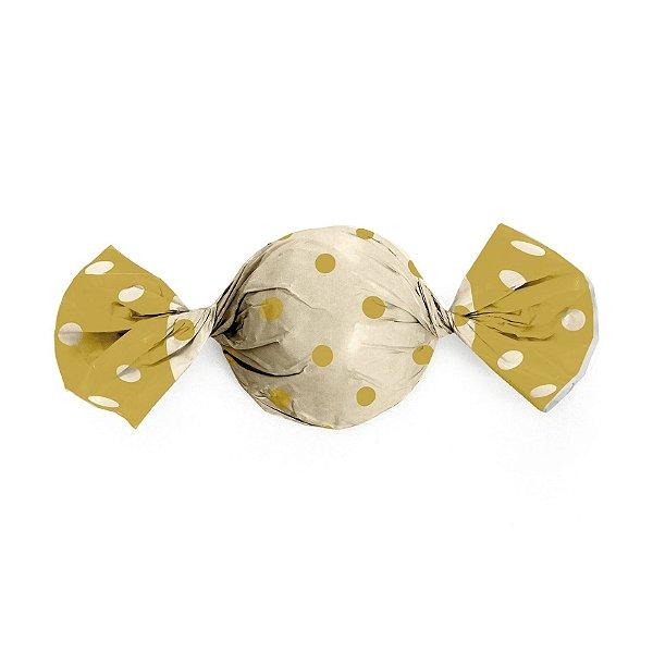 Embalagem Trufa 15x16cm - Poa Ouro e Marfim - 100 unidades - Cromus - Rizzo Confeitaria