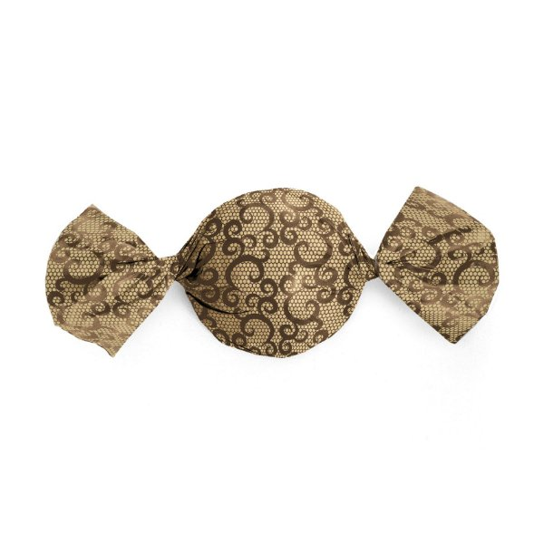 Embalagem Trufa 15x16cm - Renda Ouro e Marrom - 100 unidades - Cromus - Rizzo Confeitaria