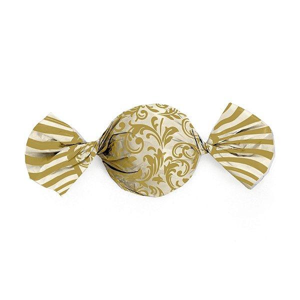 Embalagem Trufa 15x16cm - Arabesco Ouro e Marfim - 100 unidades - Cromus - Rizzo Confeitaria