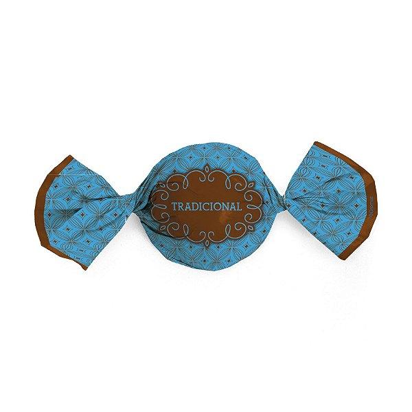 Papel Trufa 14,5x15,5cm - Gostosura Tradicional Azul - 100 unidades - Cromus - Rizzo Confeitaria