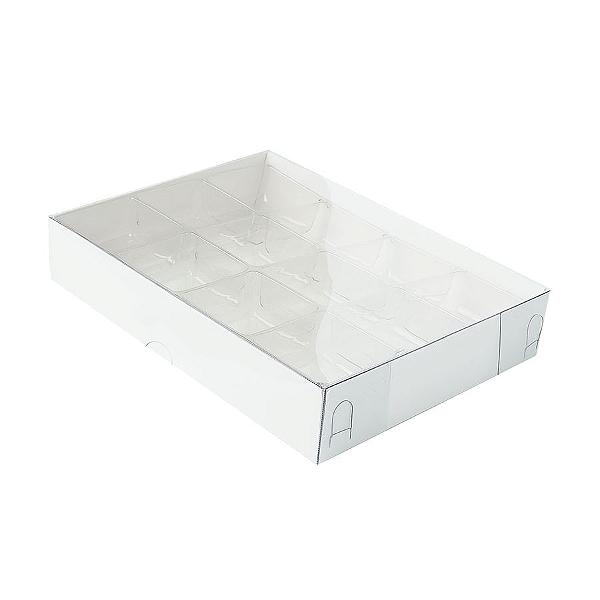 Caixa para 12 Doces com Berço Tampa Transparente Nº 2 Branca - 15,5cm x 11,5cm x 3cm - 10 unidades - Assk Rizzo Confeitaria