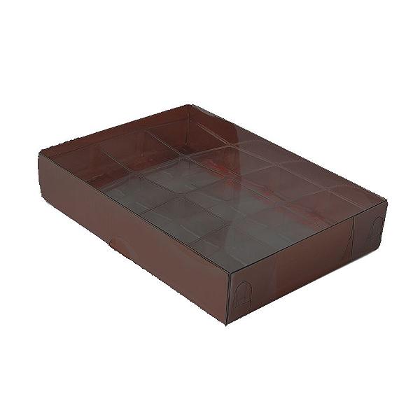 Caixa para 12 Doces com Berço Tampa Transparente Nº 2 Marrom - 15,5cm x 11,5cm x 3cm - 10 unidades Assk Rizzo Confeitaria