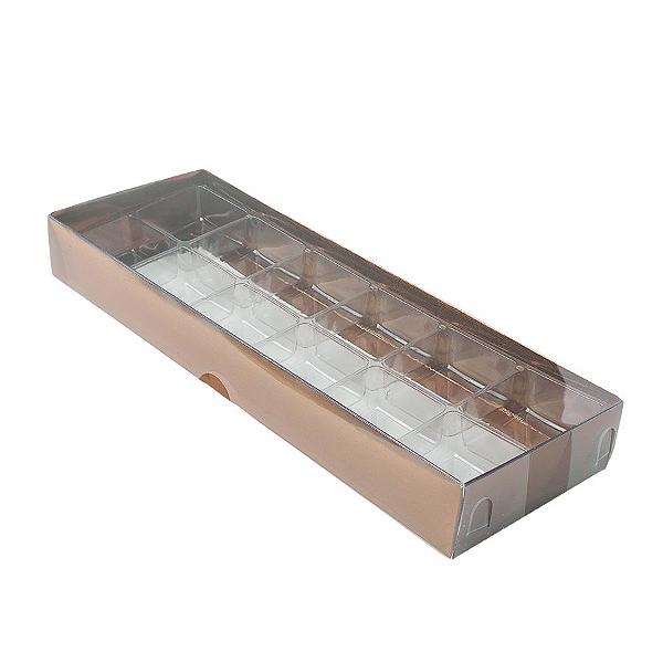 Caixa para 12 Doces com Berço Tampa Transparente Nº 3 Bronze - 23cm x 8,5cm x 3cm - 10 unidades Assk Rizzo Confeitaria