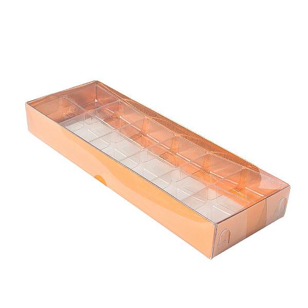 Caixa para 12 Doces com Berço Tampa Transparente Nº 3 Cobre - 23cm x 8,5cm x 3cm - 10 unidades Assk Rizzo Confeitaria