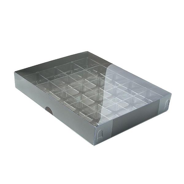 Caixa para 20 Doces com Berço Tampa Transparente Nº 1 Marrom - 19,5cm x 15,5cm x 3cm - 10 unidades Assk Rizzo Confeitaria