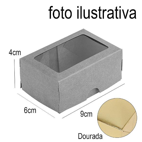 Caixa para 2 Doces com Visor S1 Dourada - 6cm x 9cm x 4cm - 10 unidades Assk Rizzo Confeitaria