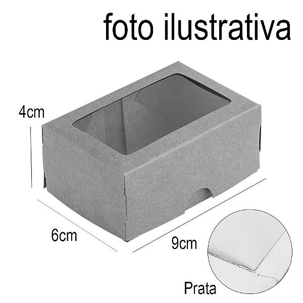 Caixa para 2 Doces com Visor S1 Prata - 6cm x 9cm x 4cm - 10 unidades Assk Rizzo Confeitaria