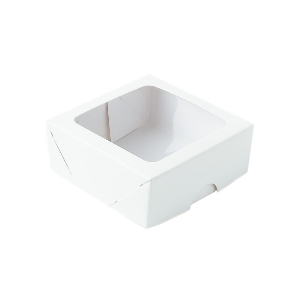 Caixa para 4 Doces com Visor S11 Branca - 9cm x 9cm x 4cm - 10 unidades Assk Rizzo Confeitaria