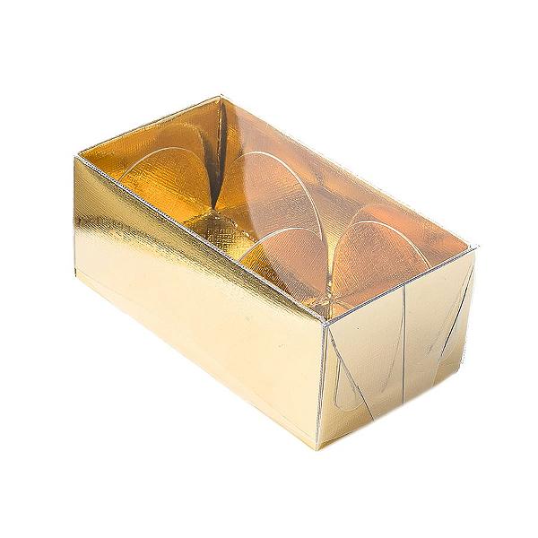 Caixa para 2 Doces com Tampa Transparente Nº 2 Dourada - 8,5cm x 4cm x 3,5cm - 10 unidades Assk Rizzo Confeitaria