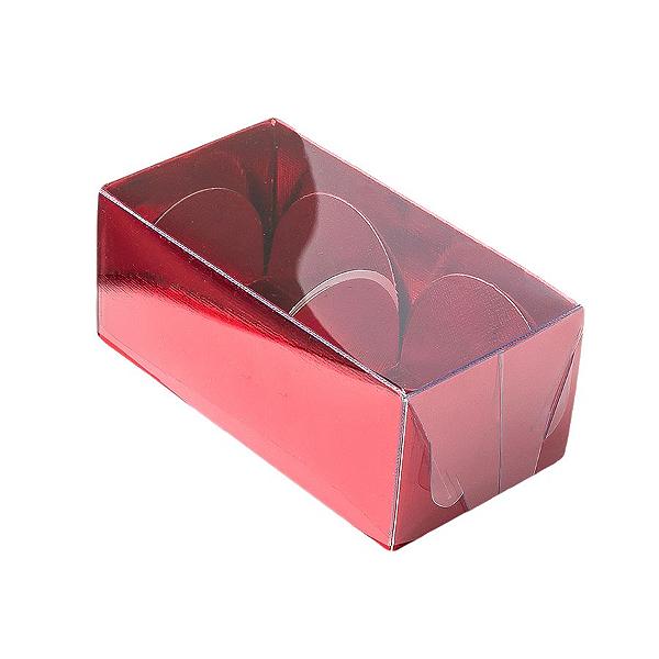 Caixa para 2 Doces com Tampa Transparente Nº 2 Vermelha - 8,5cm x 4cm x 3,5cm - 10 unidades Assk Rizzo Confeitaria