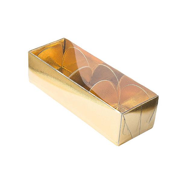 Caixa para 3 Doces com Tampa Transparente Nº 3 Dourada - 12cm x 4,5cm x 3,5cm - 10 unidades Assk Rizzo Confeitaria